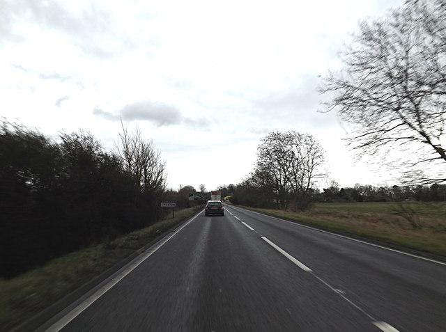 Entering Croxton on the A428 Cambridge Road