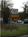 TL2460 : Roadsign on Toseland Road at the crossroads by Adrian Cable