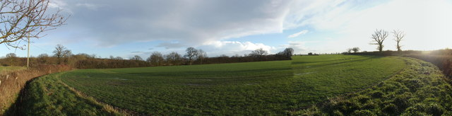 Panoramic view of the fields opposite Corner Farm
