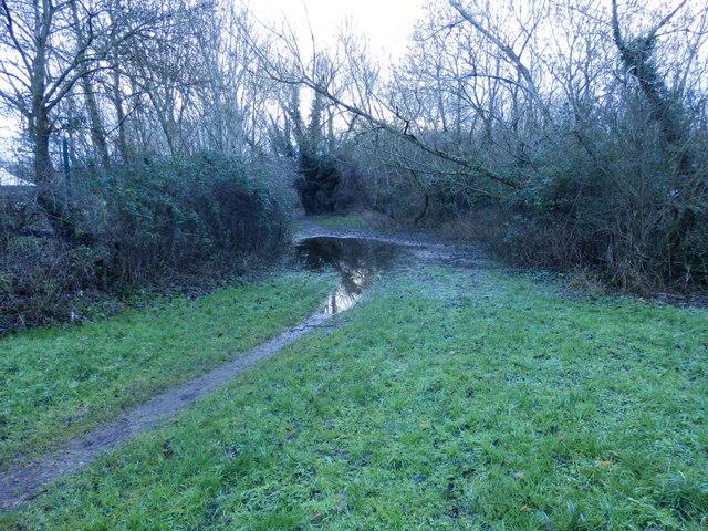Minor case of Christmas flooding outside Brookfield Primary School, Swindon