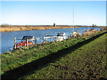TG3504 : Boats moored by Buckenham sailing club by Evelyn Simak