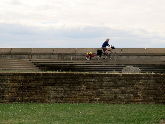 Cyclist on the sea wall