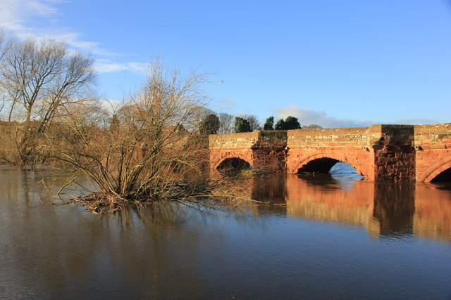The River Dee in Flood at Farndon