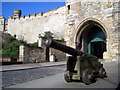 SK9771 : Cannon at the Castle by Des Blenkinsopp