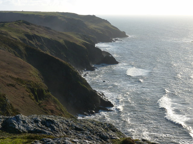 The coastline south-east from near to the car park, Bolberry Down