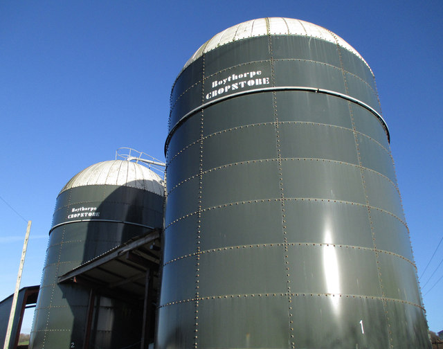 Slurry silos at farm in Halford