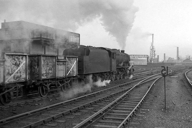 Coal train heads up Miles Platting bank, 1966