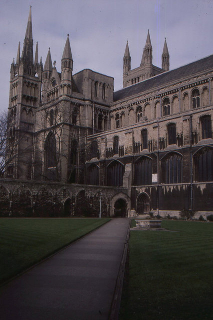 Peterborough cathedral, across the former cloister