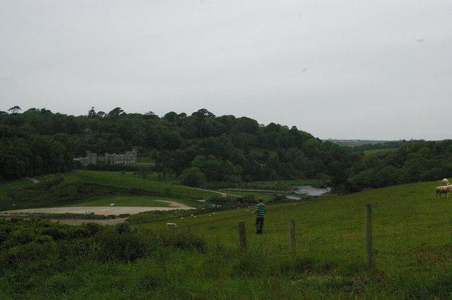 Coast path dropping to Caerhays Castle