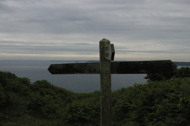 Junction of paths and view across Veryan Bay, on the Dodman Point