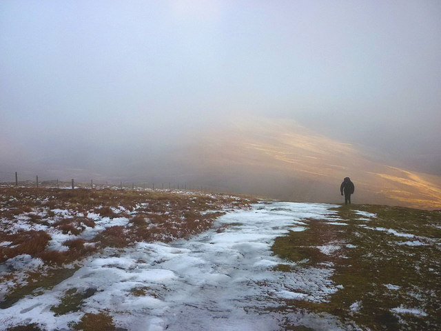 Hard packed snow on the climb to The Cheviot