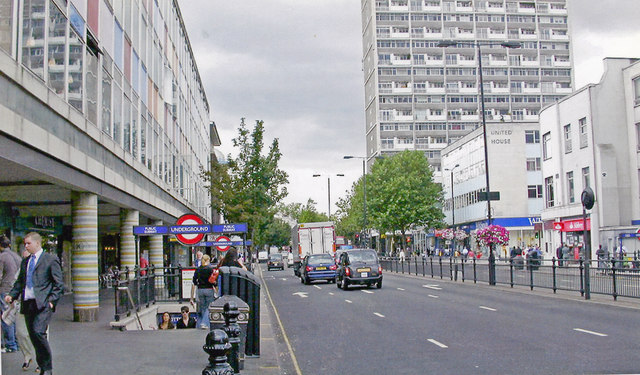 Notting Hill Gate: entrances to London Underground station, on A402 at top of Kensington Church Street, 2007