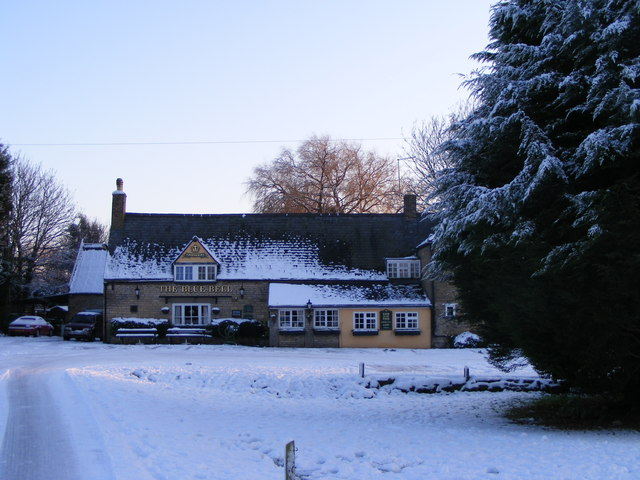 The Blue Bell, Glinton, in the snow