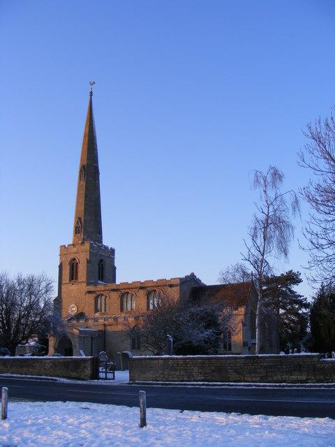 St. Benedict's Church, Glinton, in the snow