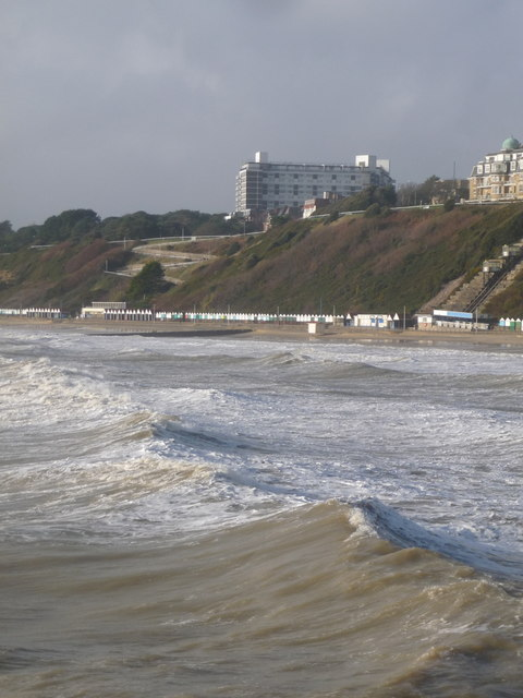 Bournemouth: West Cliff viewed over big waves