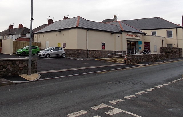 Mill Street side of Sainsbury's Local in Caerleon