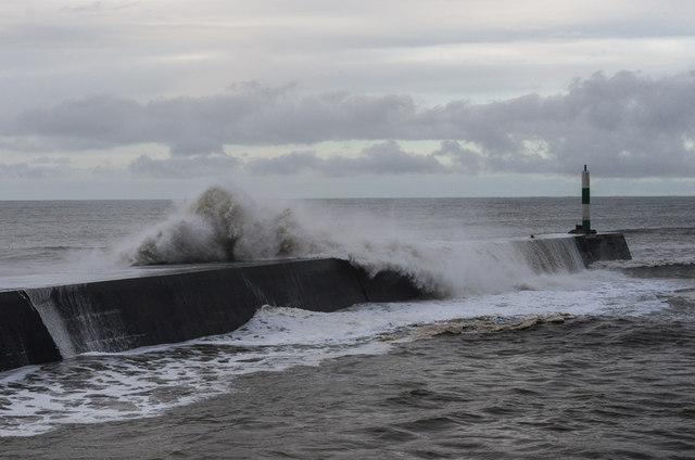 Aberystwyth Harbour - January 2014 storm