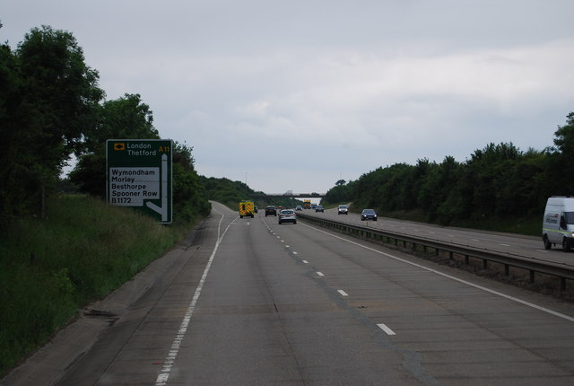 A11 approaching the B1172 turning