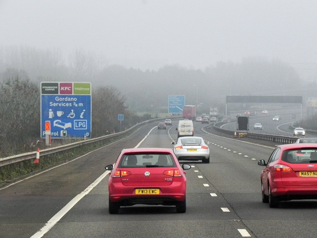 Northbound M5 approaching Gordano Services