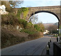 SS7994 : Queen Street bus stop near an arch of a former aqueduct in Pontrhydyfen by Jaggery