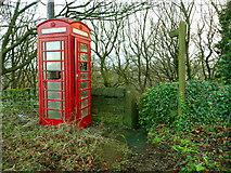 SE0721 : Top of Elland FP42 (SE part) and old telephone box by Humphrey Bolton