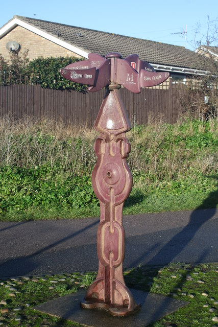 Modern finger post direction sign