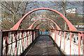 SD9304 : Lattice girder footbridge at Oldham Mumps by Alan Murray-Rust