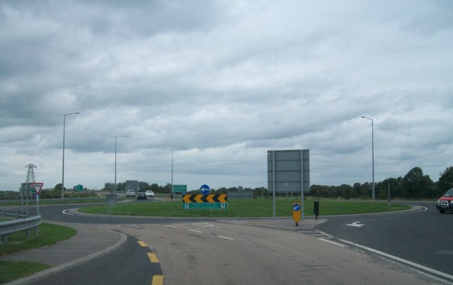 Roundabout at the crossroads of the N52 and the R420 on the Tullamore Bypass