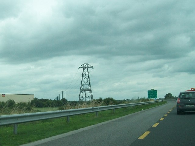 Power lines near the N52 bridge over the Tullamore River