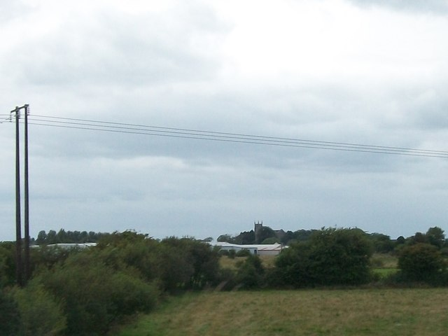 View across an industrial estate to St Catherine's CoI Church, Tullamore