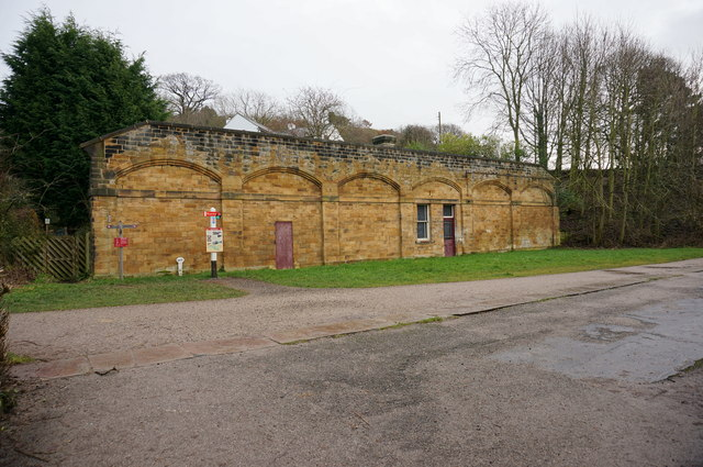 Bakewell Station, east platform wall