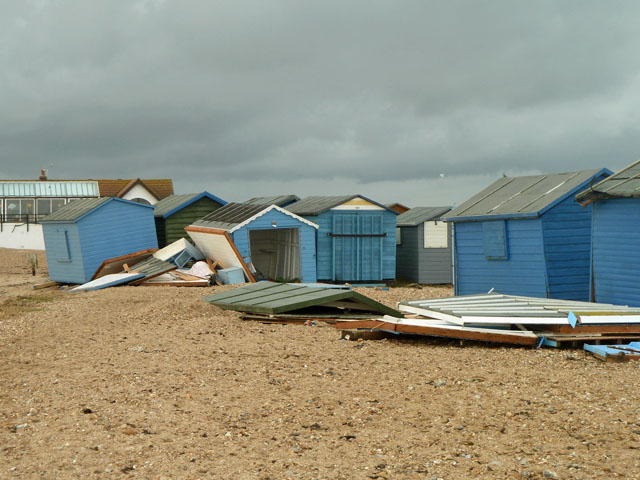 Storm damage to beach huts