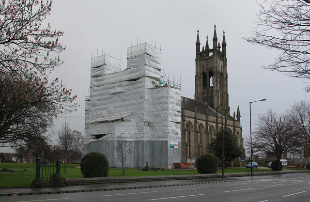 St Peter's Church, Ashton - the east end is swathed in scaffolding during restoration work