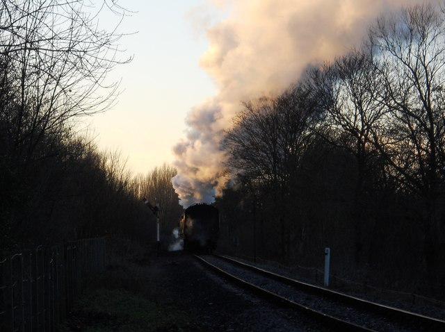 Steaming away from Orton Mere station