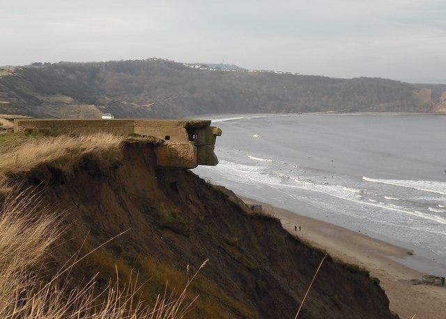 Precarious WW II structure, Killerby Cliff