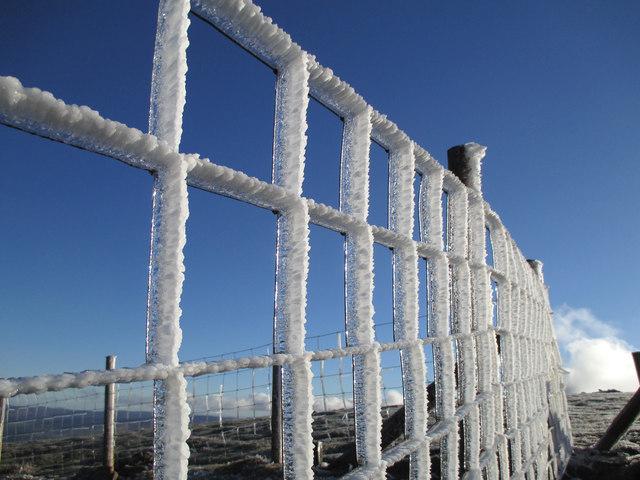 Ice on the fence near Arenig Fawr