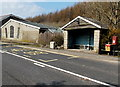 SS8883 : Fountain bus shelter and postbox near Aberkenfig by Jaggery