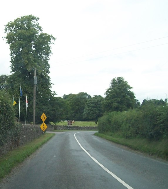 Sharp bend in the R164 on the southern outskirts of Moynalty