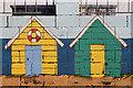 NY1865 : Murals on a wall at Port Street, Annan by Walter Baxter
