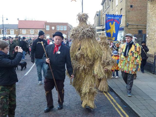 Bears leave The Market Place - Whittlesea Straw Bear Festival 2014