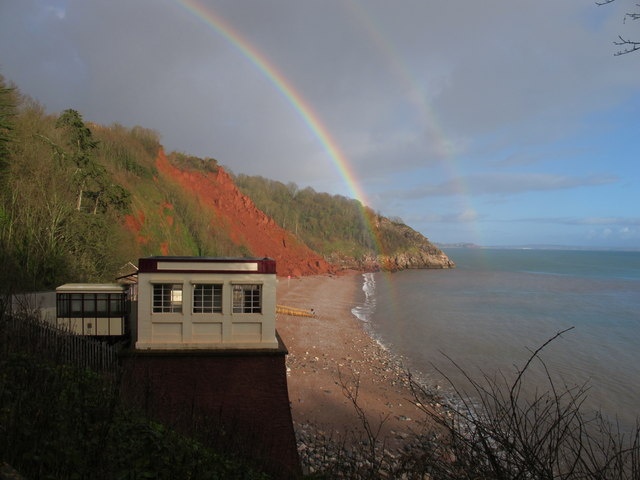 Oddicombe Beach with double rainbow