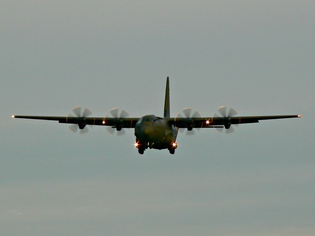 Lockheed C-130 Hercules on final approach, RAF Brize Norton