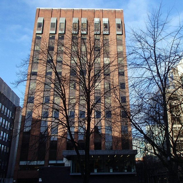 Office block and winter trees, Lincoln Square