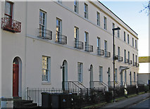 SO8318 : Gloucester - houses on south side of Brunswick Square by Dave Bevis