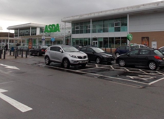 Parking bays near the entrance to Asda, Caerphilly