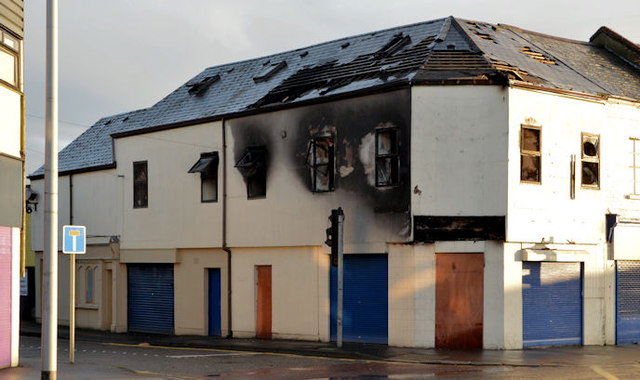 Fire-damaged building, Connswater, Belfast (1)