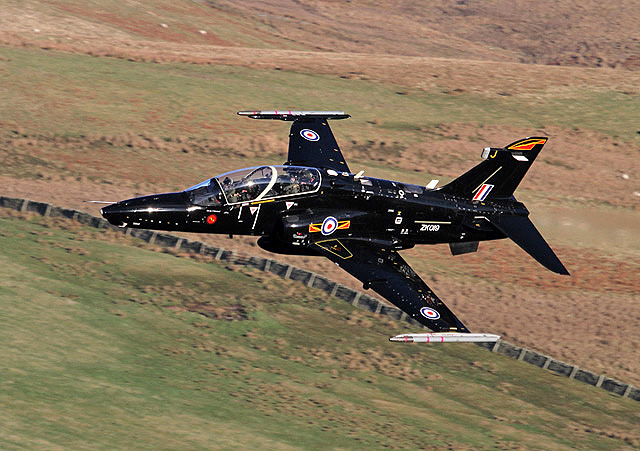 A low flying RAF jet in the Yarrow Valley