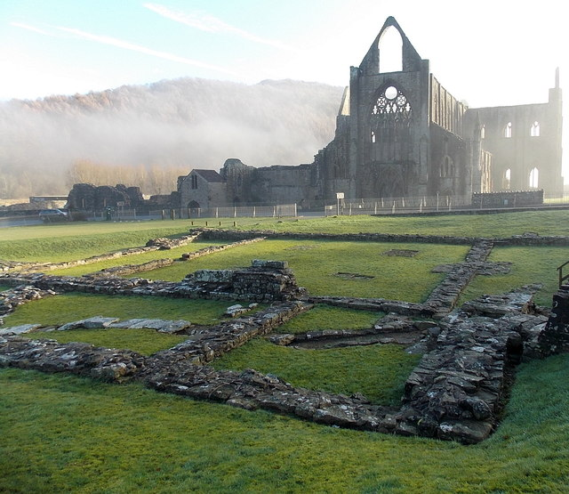 Across the remains of the Inner Court towards Tintern Abbey