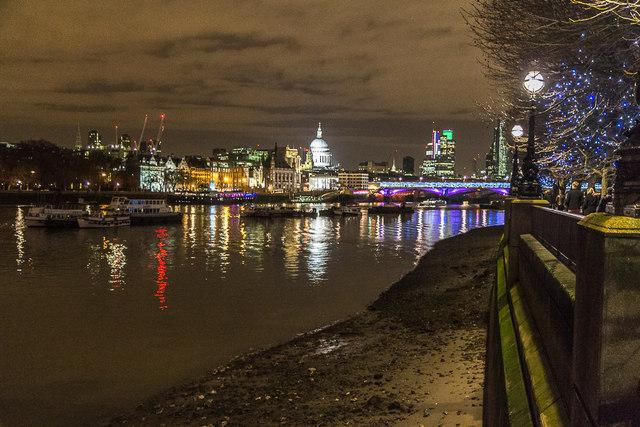 South Bank looking towards Blackfriars Bridge, London