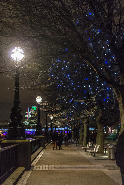 South Bank towards Blackfriars Bridge, London